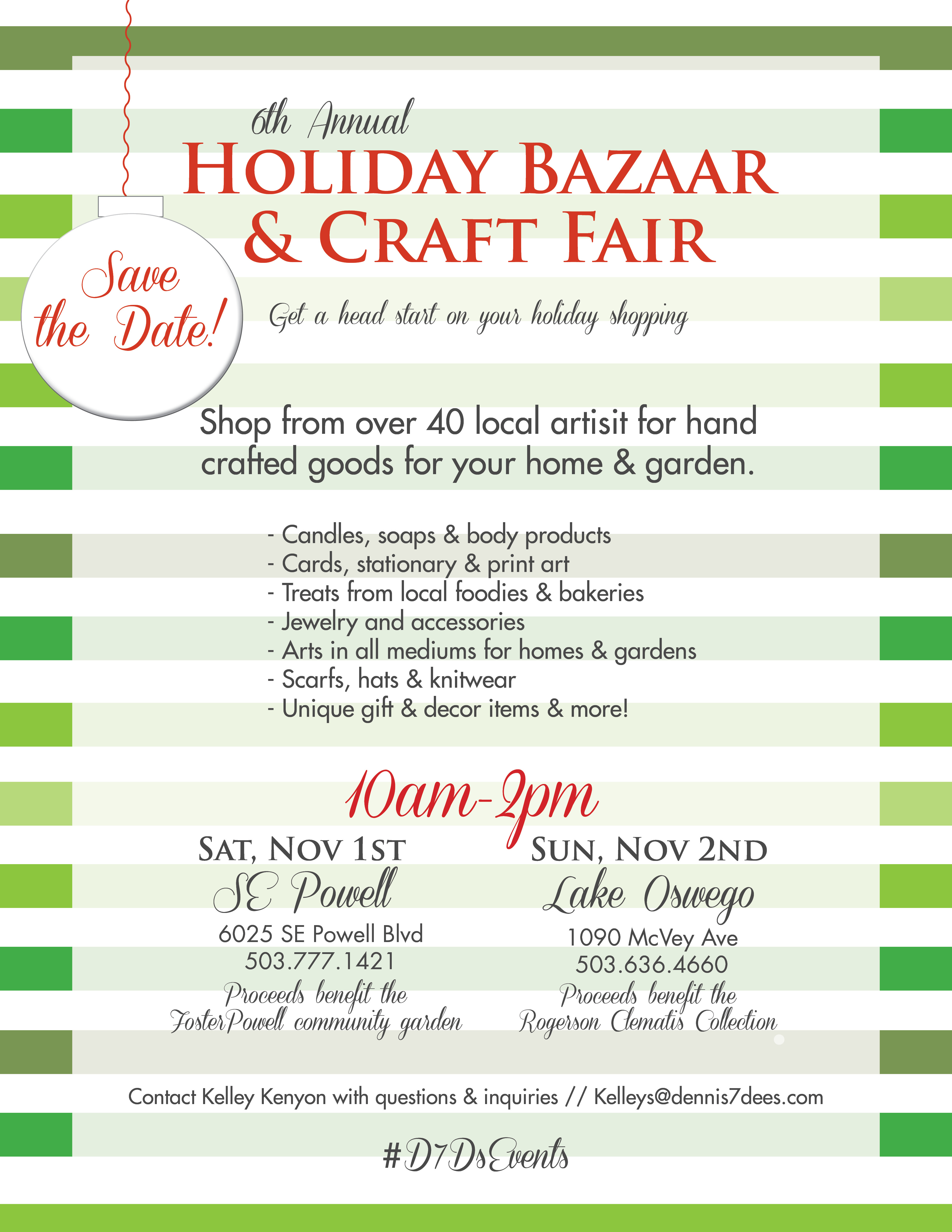 Dennis 7dees holiday bazaar craft fair november 1st for Holiday craft fairs portland oregon